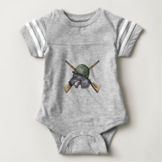 Grey Wolf WW2 Helmet Crossed Rifles Tattoo Baby Bodysuit