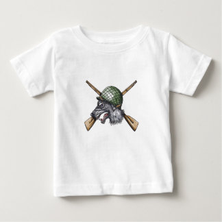 Grey Wolf WW2 Helmet Crossed Rifles Tattoo Baby T-Shirt