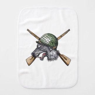 Grey Wolf WW2 Helmet Crossed Rifles Tattoo Burp Cloth