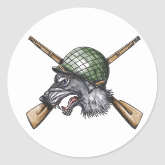 Grey Wolf WW2 Helmet Crossed Rifles Tattoo Classic Round Sticker