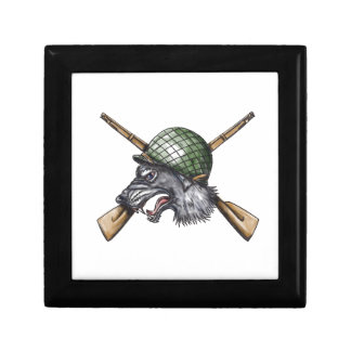 Grey Wolf WW2 Helmet Crossed Rifles Tattoo Gift Box