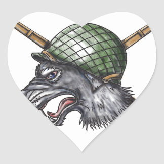 Grey Wolf WW2 Helmet Crossed Rifles Tattoo Heart Sticker
