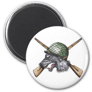 Grey Wolf WW2 Helmet Crossed Rifles Tattoo Magnet