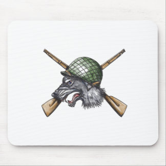 Grey Wolf WW2 Helmet Crossed Rifles Tattoo Mouse Pad