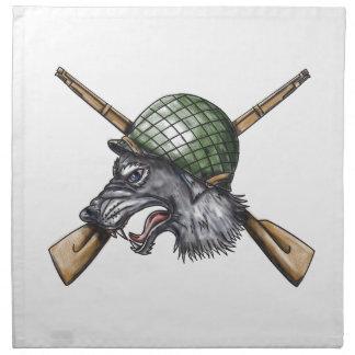 Grey Wolf WW2 Helmet Crossed Rifles Tattoo Napkin