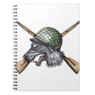 Grey Wolf WW2 Helmet Crossed Rifles Tattoo Notebook