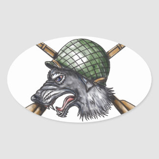 Grey Wolf WW2 Helmet Crossed Rifles Tattoo Oval Sticker