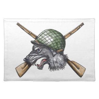 Grey Wolf WW2 Helmet Crossed Rifles Tattoo Placemat