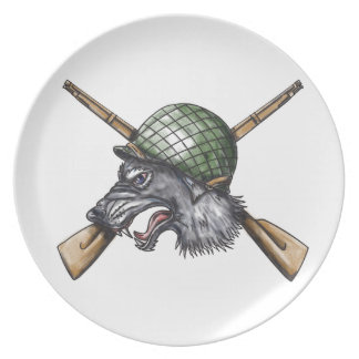 Grey Wolf WW2 Helmet Crossed Rifles Tattoo Plate