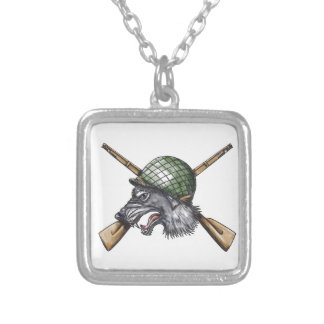 Grey Wolf WW2 Helmet Crossed Rifles Tattoo Silver Plated Necklace