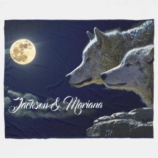Grey Wolves Under a Full Moon Fleece Blanket