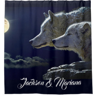 Grey Wolves Under a Full Moon Shower Curtain