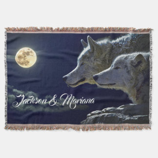 Grey Wolves Under a Full Moon Throw Blanket