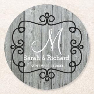 Grey Wood Country Wedding Monogram Round Paper Coaster
