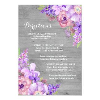 Grey Wood Purple Floral Lilac Wedding Direction 9 Cm X 13 Cm Invitation Card