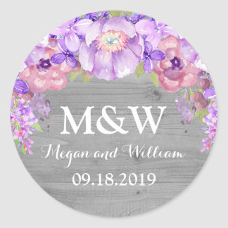 Grey Wood Purple Lilac Floral Monogram Wedding Tag Round Sticker