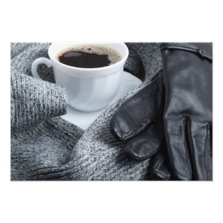 Grey wool scarf and leather gloves photo print