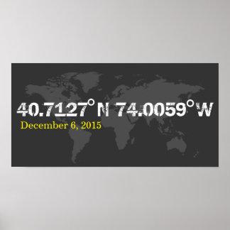 grey World coordinates date wedding print