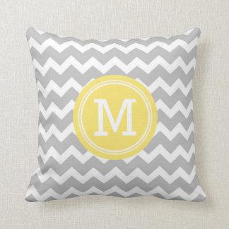 Grey Yellow Chevron Monogram Decorative Pillow Cushions