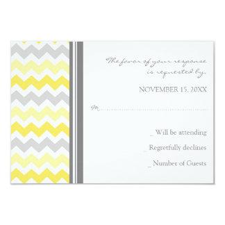 Grey Yellow Chevron RSVP Wedding Card 9 Cm X 13 Cm Invitation Card