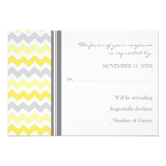 Grey Yellow Chevron RSVP Wedding Card