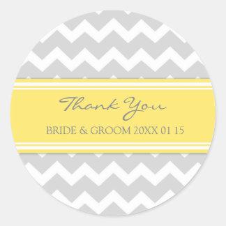 Grey Yellow Chevron Thank You Wedding Favor Tags Round Sticker