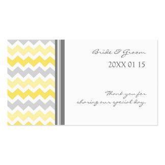Grey Yellow Chevron Wedding Favor Tags Business Card Template