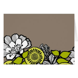 Grey Yellow Flowers BLANK Greeting Card