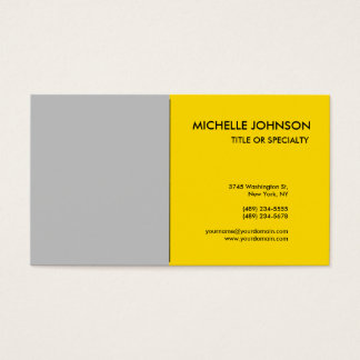 Grey Yellow Minimalist Simple Plain Classical Business Card