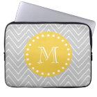 Grey & Yellow Modern Chevron Custom Monogram Laptop Sleeve