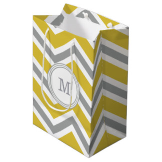Grey Yellow Monogram Chevron Gift Bag