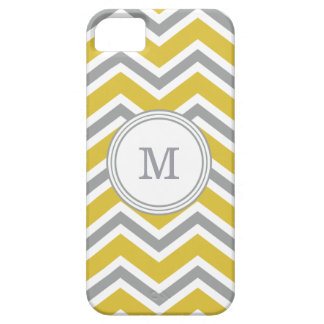 Grey Yellow Monogram Chevron iPhone SE/5/5s Case
