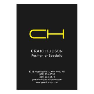 Grey Yellow Monogram Professional Business Card