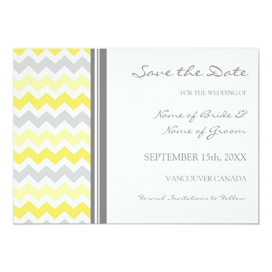 Grey Yellow Photo Wedding Save the Date Card
