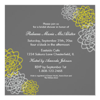 Grey/Yellow Sketched flowers 13 Cm X 13 Cm Square Invitation Card