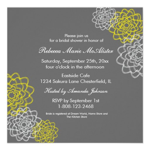 Grey/Yellow Sketched flowers Custom Invitations