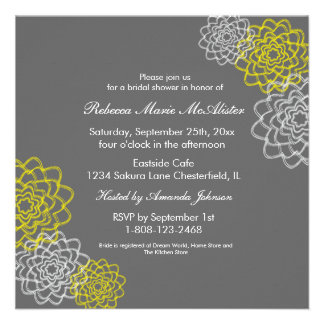 Grey Yellow Sketched flowers Custom Invitations