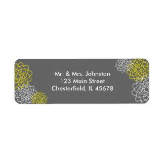 Grey/Yellow Sketched flowers Return Address Label