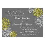 Grey/Yellow Sketched flowers Wedding Invite 13 Cm X 18 Cm Invitation Card