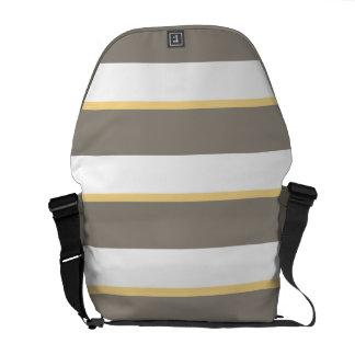 Grey Yellow Stripes Messenger Bag Outside Print