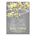 Grey yellow wedding invitation with string lights