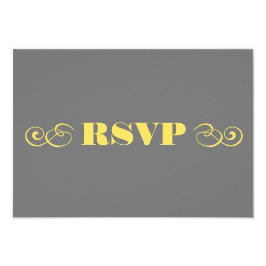 Grey & Yellow Wedding RSVP Card