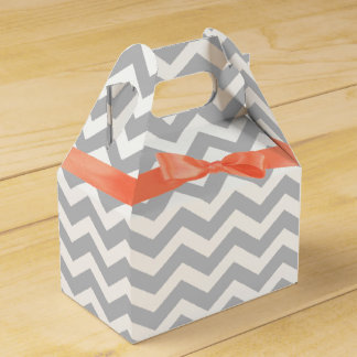 Grey Zigzag and Coral Bow Favour Box