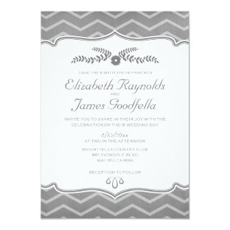 Grey Zigzag Wedding Invitations