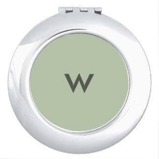 Greyed Jade Monogrammed Compact Mirror