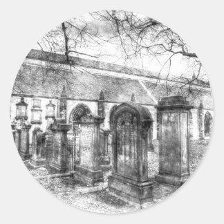 Greyfriars Kirk Church Edinburgh Vintage Round Sticker