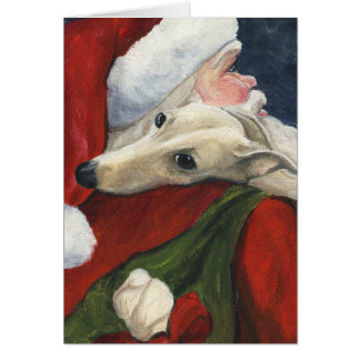 """ Greyhound and Santa"" Dog Art Christmas Card"
