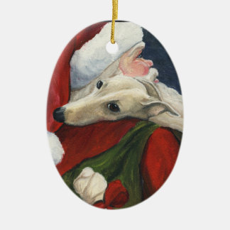 Greyhound and Santa Dog Art Ornament
