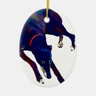 Greyhound Art Ceramic Ornament