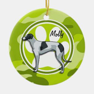 Greyhound; bright green camo, camouflage ceramic ornament